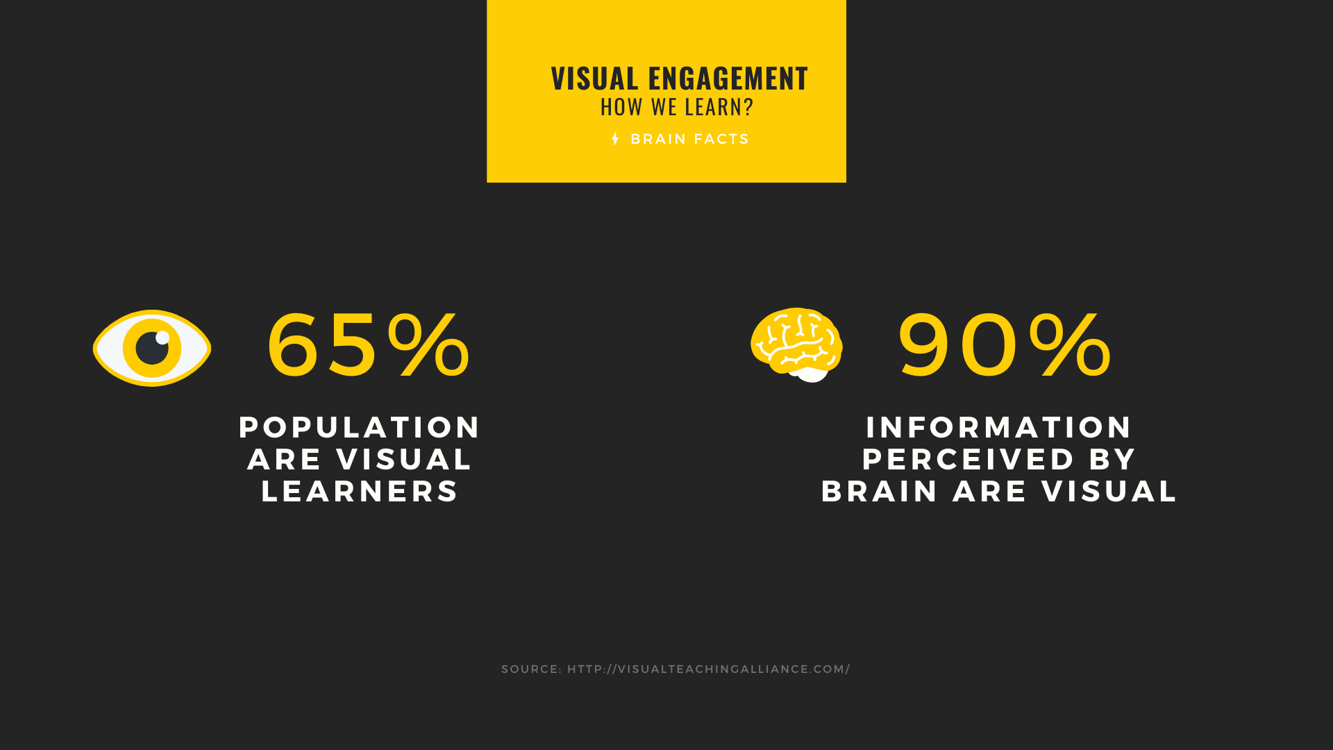 percentage representation of visual learners